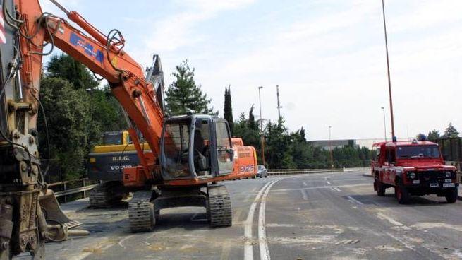 Il viadotto Kennedy durante un recente cantiere per la manutenzione del manto stradale