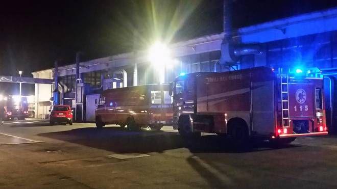 I vigili del fuoco davanti all'azienda in cui si sono sviluppate le fiamme (Isolapress)