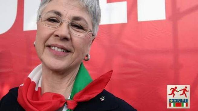 Ottavia Piccolo con il fazzoletto Anpi (Rai/Dire)