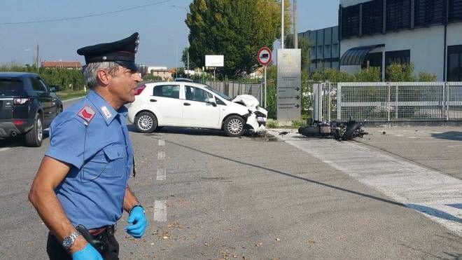 La scena dell'incidente (foto Antonio Veca)
