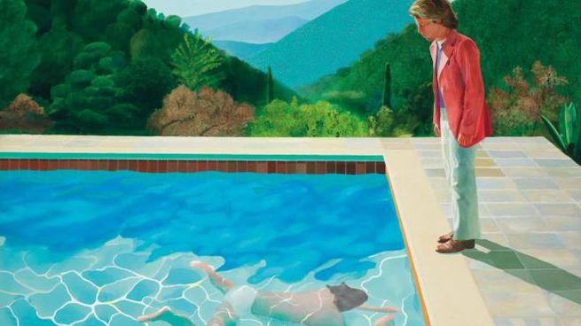 "Portrait of an artist (pool with two figures)"" di David Hockney (da www.christies.com)"