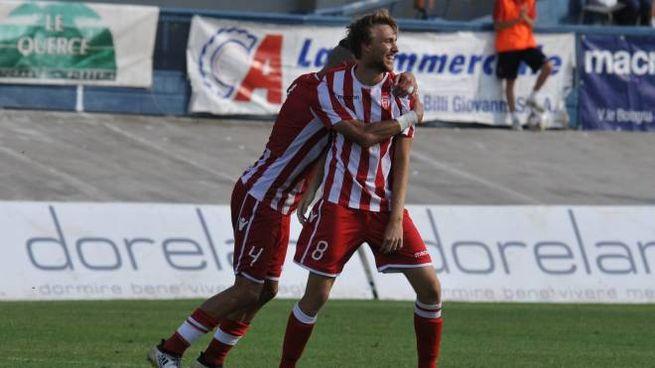 Uno dei gol del Forlì (foto Frasca)