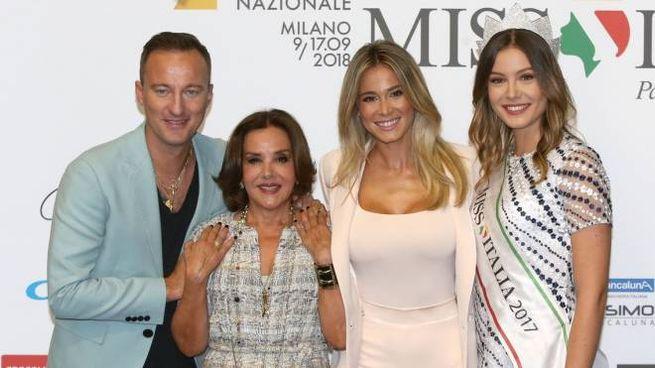 Facchinetti, Mirigliani, Leotta e Alice Arlanch, Miss Italia 2017 (LaPresse)