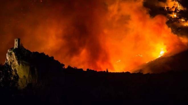 Incendio sul Monte Serra, le fiamme altissime (Foto Marco Marangon - Meteo Natura)
