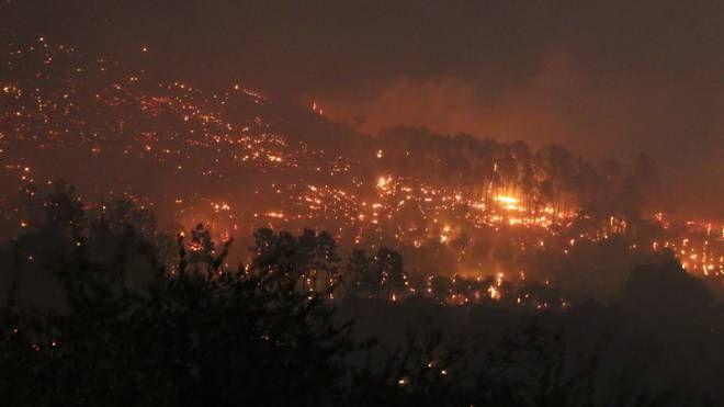 L'incendio del Monte Serra (Foto Valtriani)