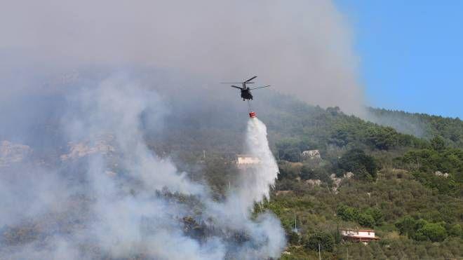 Incendio sul Monte Serra (foto Valtriani)