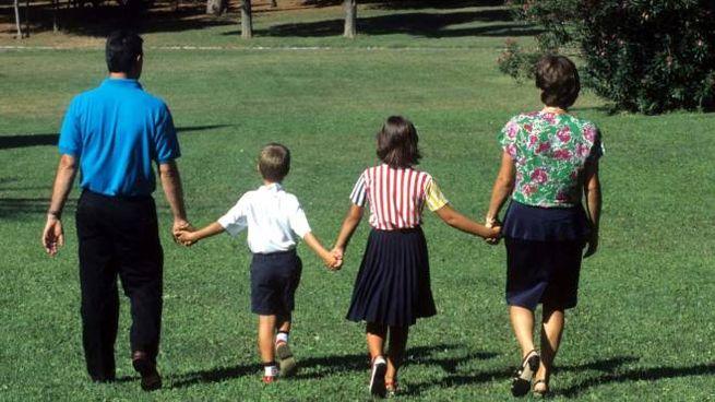 Una famiglia in una una foto di archivio