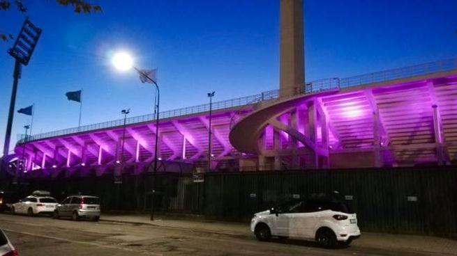 Fiorentina le nuove luci a led esterne dello stadio: il franchi si