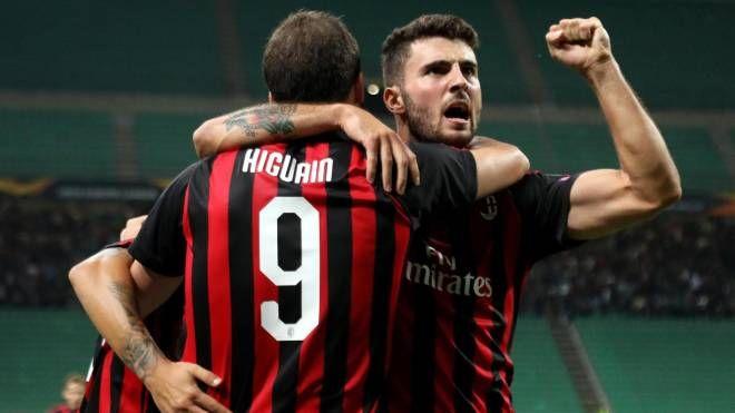 Milan-Olympiacos 3-1, Higuain e Cutrone (Ansa)