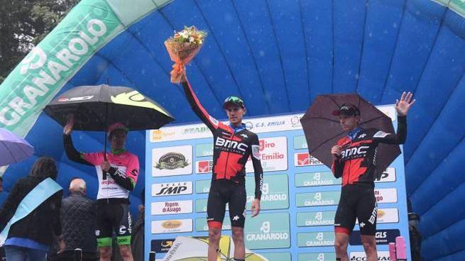 Bologna, il podio del Giro dell'Emilia 2018 (FotoSchicchi)