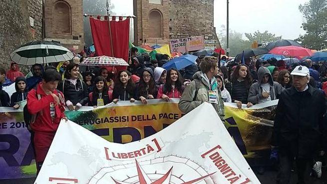 Al via la marcia della Pace 2018 Perugia-Assisi (foto Ansa)