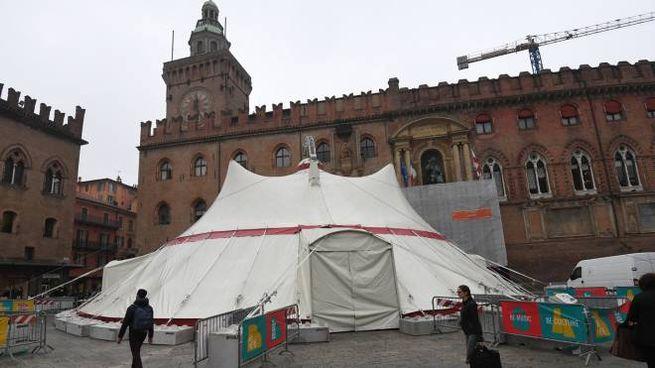 Il tendone del circo montato davanti a Palazzo d'Accursio (Schicchi)