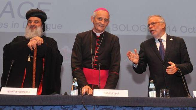 'Ponti di Pace':  Ignatius Aphrem II, il vescovo Zuppi e Andrea Riccardi (Schicchi)