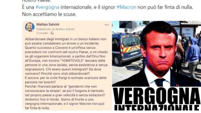 Il tweet di Salvini sul caso di Claviere (Dire)