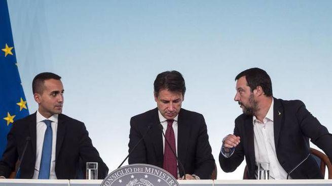 Di Maio, Conte e Salvini (Ansa)