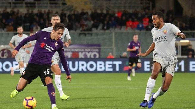 Fiorentina-Roma, un'azione di gioco (Fotocronache Germogli)