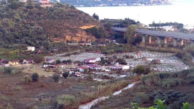 Il fiume Milicia e il pianoro dove è straripato causando la morte di 9 persone (Ansa)