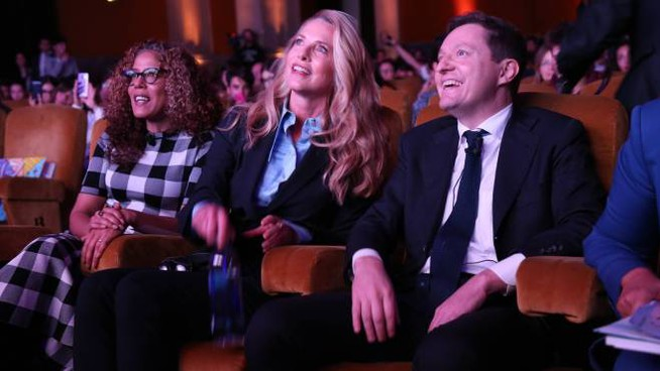 Da destra, Andrea Ceccherini, Laurene Powell Jobs e Russlynn Ali (foto Germogli)
