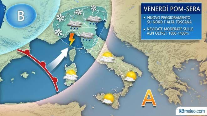 Previsioni del tempo, pioggia e neve venerdì e sabato (3bmeteo.com)