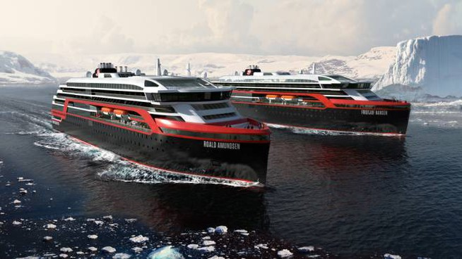 Le navi da crociera con motori a tecnologia ibrida di Hurtigruten - Foto: Hurtigruten