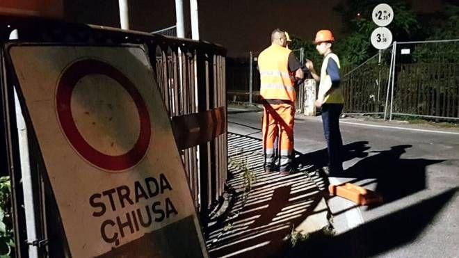 Il ponte San Michele chiuso