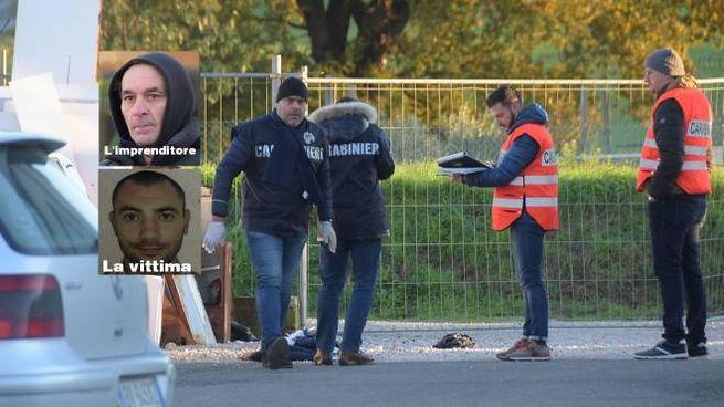 Le indagini dei carabinieri fuori dall'azienda di Fredy Pacini (Foto Cristini)