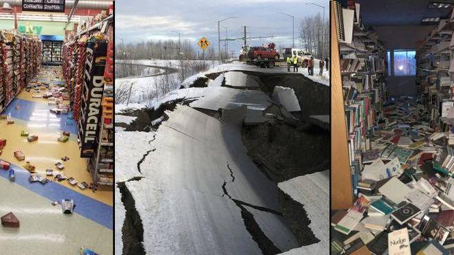 Terremoto in Alaska: danni nelle case, strade sbriciolate