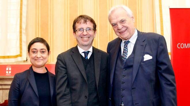 Cristina Parenti, l'assessore Filippo del Corno e il sovrintendente del Teatro alla Scala Alexander Pereira