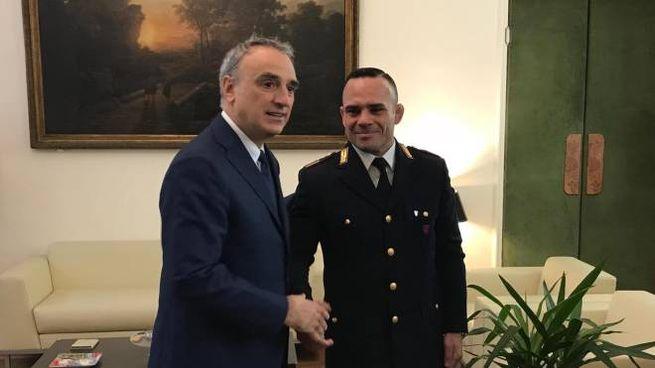 Il questore con l'assistente capo Danilo Bignone