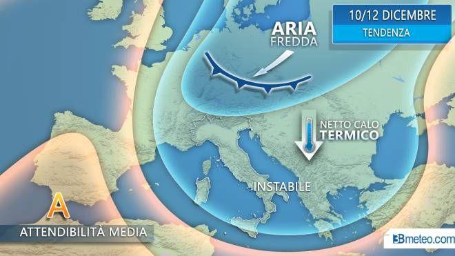 Meteo, discesa di aria fredda polare dopo il weekend dell'Immacolata (3bmeteo.com)