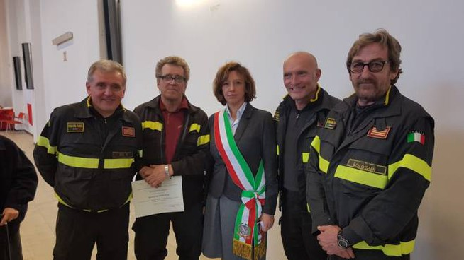 La sindaca Manuela Sangiorgi in visita al comando provinciale dei vigili del fuoco