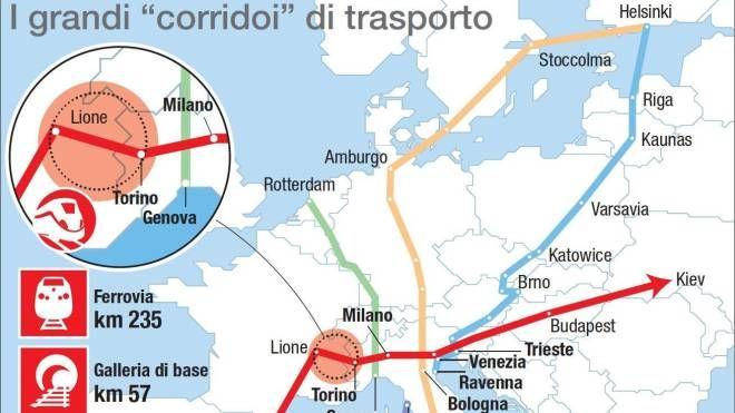 I grandi corridoi di trasporto in Europa (Ansa)
