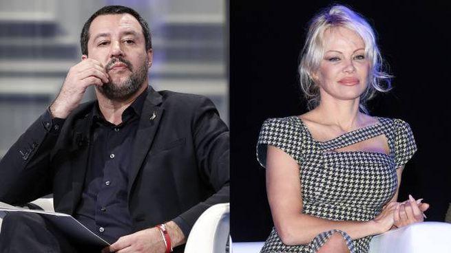 Matteo Salvini e Pamela Anderson (Ansa)