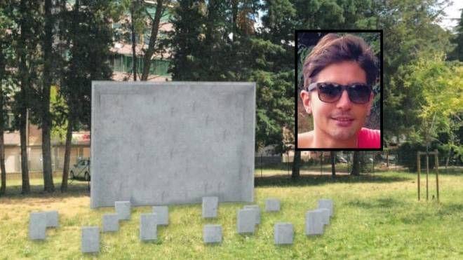 Il memoriale per Duccio Dini. Nel riquadro il ragazzo