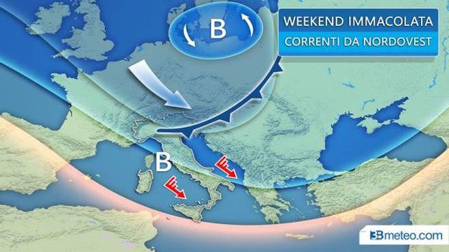 Meteo, il peggioramento del weekend: il grafico di 3bmeteo.com