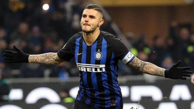 Mauro Icardi dopo il gol all'Udinese (Ansa)