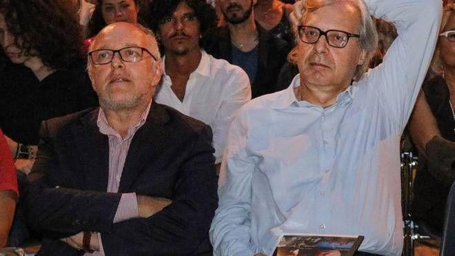 Tiziano Tagliani e Vittorio Sgarbi (foto Businesspress)