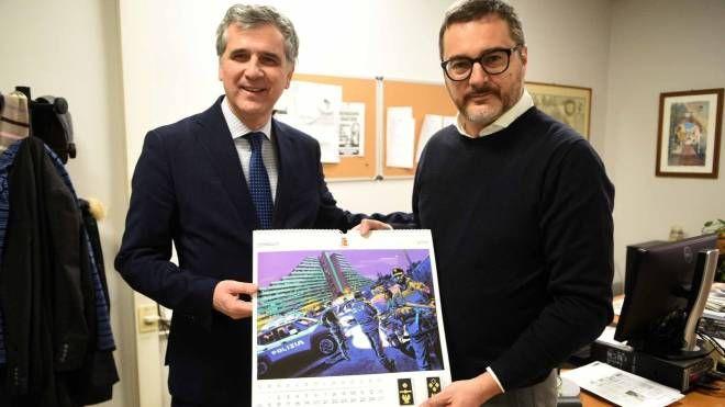 Il questore Giancarlo Pallini con il caposervizio del Resto del Carlino Cristiano Bendin (Bp)