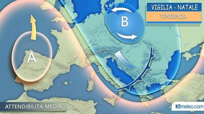 Previsioni meteo, blitz di maltempo al Sud tra la Vigilia e Natale