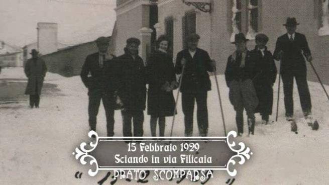 Nel 1929 neve in via Filicaia... e sci a portata di mano