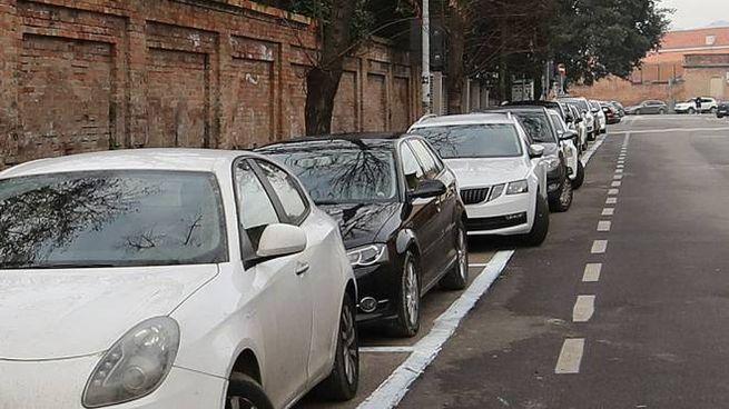 I posti auto dipinti di bianco in via Oberdan (foto Print)