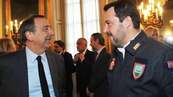 Giuseppe Sala e Matteo Salvini in Prefettura a Milano