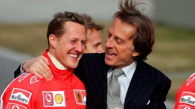 Michael Schumacher e Luca Cordero di Montezemolo in un'immagine d'archivio (Ansa)
