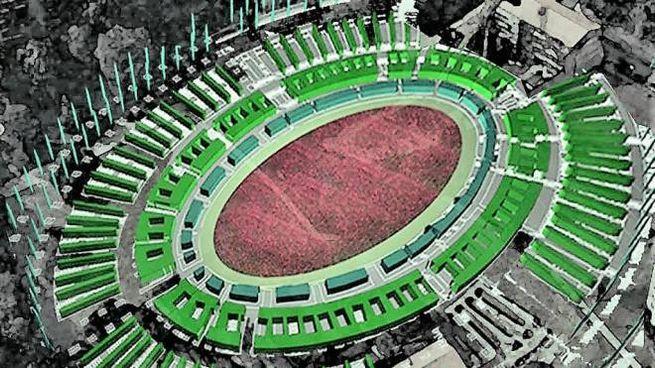 Il rendering del Colosseo verde