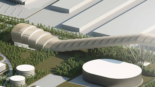 L'avveniristica pista da sci indoor ipotizzata insieme ad altre aree commerciali e zone verdi Sopra, il sindaco Davide Barletta (Spf)