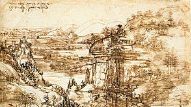 """Il celebre disegno di Leonardo """"Paesaggio con fiume"""""""