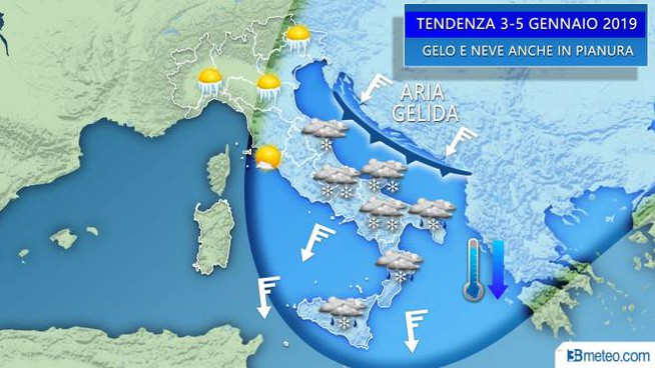 La mappa delle previsioni di 3bmeteo.com