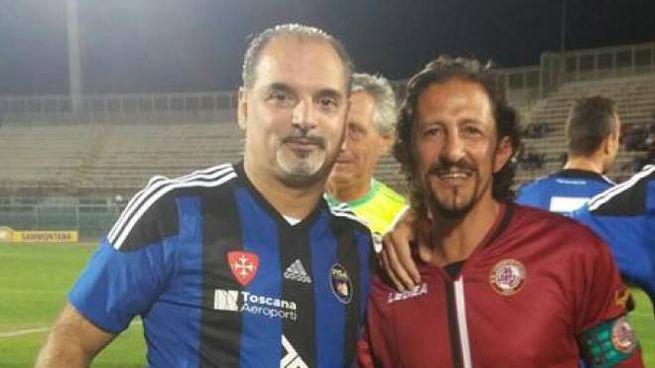 Gerry Cavallo e Igor Protti in occasione del derby del cuore dello scorso anno al Picchi