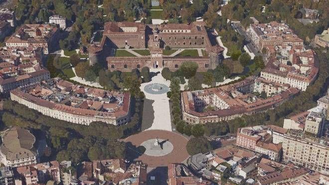 Il rendering di piazza Castello dall'alto