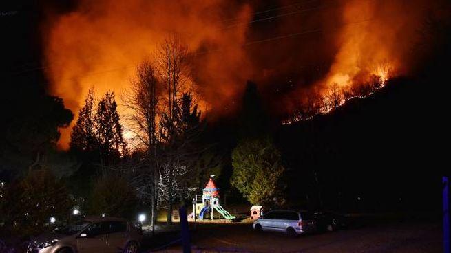 L'incendio sul Monte Martica (Newpress)